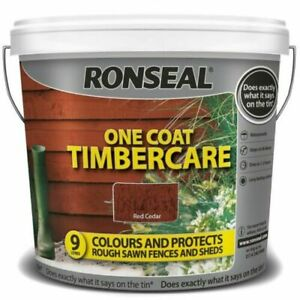 Ronseal One Coat Timbercare Fast Dry Garden Shed Fence Paint Red Cedar - 5Ltr