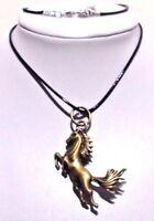 Collier Homme,Femme,Bronze Antique,Cheval,Cuir Noir,Tendance,Style,Mode,Animal