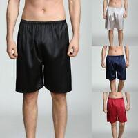 Summer Men's Silk Satin Sleepwear Underwear Boxer Beach Shorts Pajamas Pants