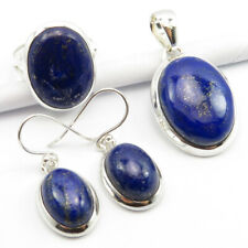Lapis Lazuli Earrings Pendant Ring Size 8 Women'S Set ! 925 Solid Silver Real
