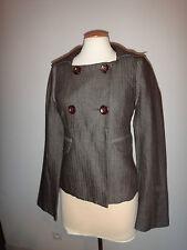 Magnifique veste trench court ONE STEP lin laine marron taille 38 voir 40 tbe!