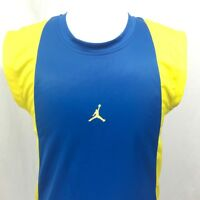 Nike Air Jordan Boys Sleeveless Basketball Blue and Yellow Jersey Sz Youth Large