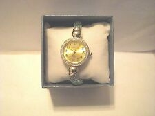 Fashion Ladies Gold Tone Wristwatch-Round See Through Mesh Band With Rhinestones