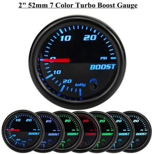 "2"" 52mm 7 Color LED PSI Turbo Boost Pressure Vacuum Gauge Car Meter Black Face"