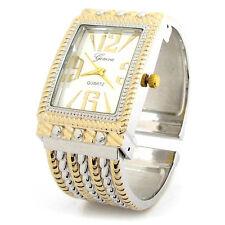 2Tone Decorated Case Long face Women's Bangle Cuff Quartz Watch