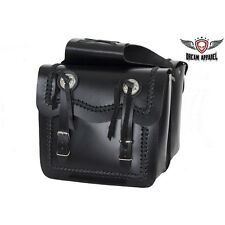 12 INCH BLACK LEATHER MOTORCYCLE SADDLEBAGS FOR YAMAHA VIRAGO V STAR VMAX NEW