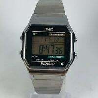 Timex Mens Indiglo 555 P5 Silver Tone Stainless Steel Band Digital Watch