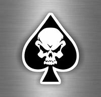 Autocollant sticker biker moto motard tete de mort skull as de pic tuning pirate