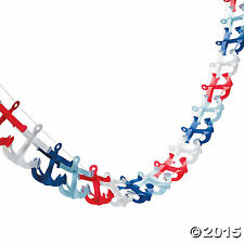 "NAUTICAL ANCHOR GARLAND 4 3/4"" x 108"" Sailor Nautical Party Decoration NICE"