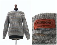 90s Vintage Women's MISSONI Wool Knitted Sweater Jumper Grey Size M