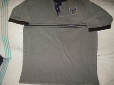 Baltimore Ravens heather gray polo,purple-Sz L-black/purple stripe+crest front