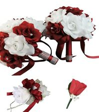 USA Seller -  Apple Red and White Wedding Bouquet Package