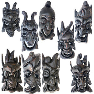 HAND CARVED WOODEN ORIENTAL WARRIOR MASK S