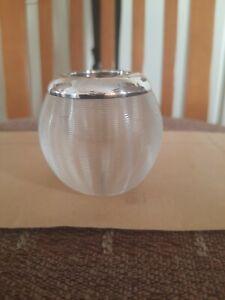 Match holder/striker ribbed glass silver rim hallmarked