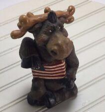 Moose Figurine Flag Patriotic American Rustic