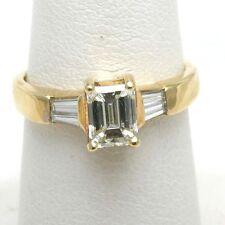 NEW 18k yellow gold Emerald Cut Engagement Ring 1.38 carat baguette