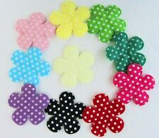 50 Assorted Polka Dot Cotton Fabric Flower Applique/Trim/Sewing H33-Mix 10 Color