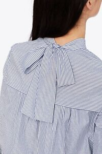 Tory Burch Striped Cotton Bow Back Blouse in Blue and White - Size 6