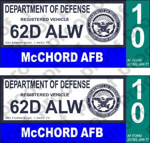 STICKER DOD MCCHORD AFB 10 CLOSED BASE BLUE 50