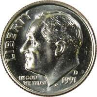 1991 D 10c Roosevelt Dime US Coin BU Uncirculated Mint State