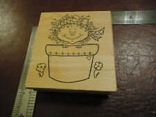 BABY IN A POTTED PLANT RUBBER STAMP HELP IN THE GARDEN CHILDHOOD FUN SMILES