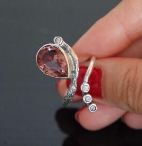 Turkish 100% Color Change Alexandrite 925 Solid Sterling Silver Ring Adjustable