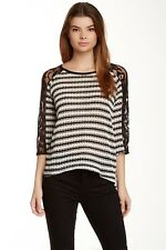 WallpapHer Black Ivory White 3/4 Sleeve Striped Boucle Lace Top Shirt S $48 NWOT