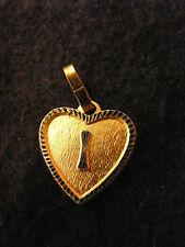 Pendentif Coeur Médaillon en Or Plaqué Lettre I 1,5 cm