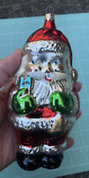 Vintage Old World Inge Glass Christmas Ornament Jolly Santa Claus Poland In Box