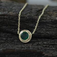 Round Bezel Set Emerald Gemstone Solid 14K Yellow Gold Pendant Necklace Jewelry