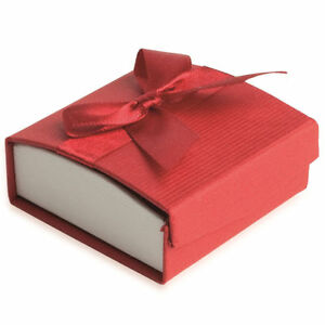 Écrin pour Boucles d'oreilles - ROUGE - Boite Cadeau Nœud Ruban - Bijoux