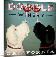 Doodle Wine Canvas Wall Art Print, Dog Home Decor