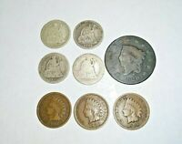 Coin Collection with some Silver,Large cent,Indian Cents,Seated Dimes-8Coins