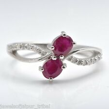 Oval Cut Ruby American Diamond 925 Sterling Silver Promise Ring For Valentine's
