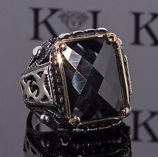 925 Sterling Silver Mens Ring with Black Onyx Unique elegant KaraJewels Design