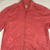 Jamaica Jaxx Men's Hawaiian Shirt Size XL 100% Silk Red or Coral Wood Buttons