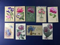 9 Beautiful BIRTHDAY Embossed FLOWER Antique Postcards 1900s For Collectors NICE