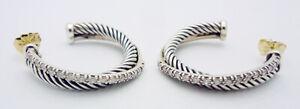 David Yurman Sterling Silver .32 Tcw Diamond Crossover Earrings 14k Gold Posts
