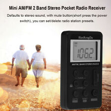 Mini Portable Pocket FM / AM 2 Band Stereo Radio Receiver LCD Display + Earphone