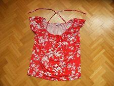 rotes Damenshirt mit weißen Blumen, Gr. S