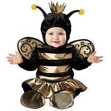 Baby Girl Gold Queen Honey Bee Halloween Costume Jumpsuit Hood Newborn 0-24M