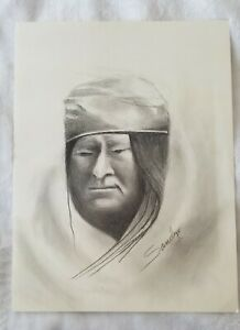 Portrait Original sketching by American Artist Sandre Benjaminson signed 20x15