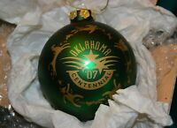 Oklahoma official Centennial Christmas glass ornament 1907 2007