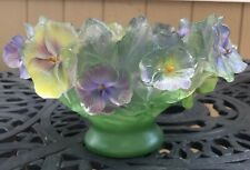 GORGEOUS PATE DE VERRE STYLE CARVED LUCITE RESIN PURPLE YELLOW GREEN PANSY BOWL
