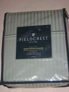 Fieldcrest Full Sheet Set 100% Cotton Sateen Satin-Stitch Damask 500TC Smo Green