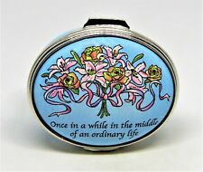 "Halcyon Days Enamel Box - ""Love Gives Us A Fairy Tale"" - Rose & Lily Bouquet"
