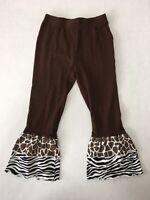 J. Khaki Girls Size 4T Stretchy Flare Ruffle Pants Brown Animal Print