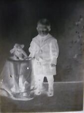 "ANTIQUE OLD 4.5"" x 6.5"" DRY GLASS SLIDE BOY WITH TEDDY BEAR TOY PHOTOGRAPH"
