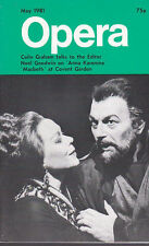 Opera Magazine 1981 May : COLIN GRAHAM, RENATA SCOTTO, RENATO BRUSON, HELEN FIEL