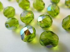 30pc 8mm Olive Green AB Plated Fire Polished Czech Glass Faceted Round Beads